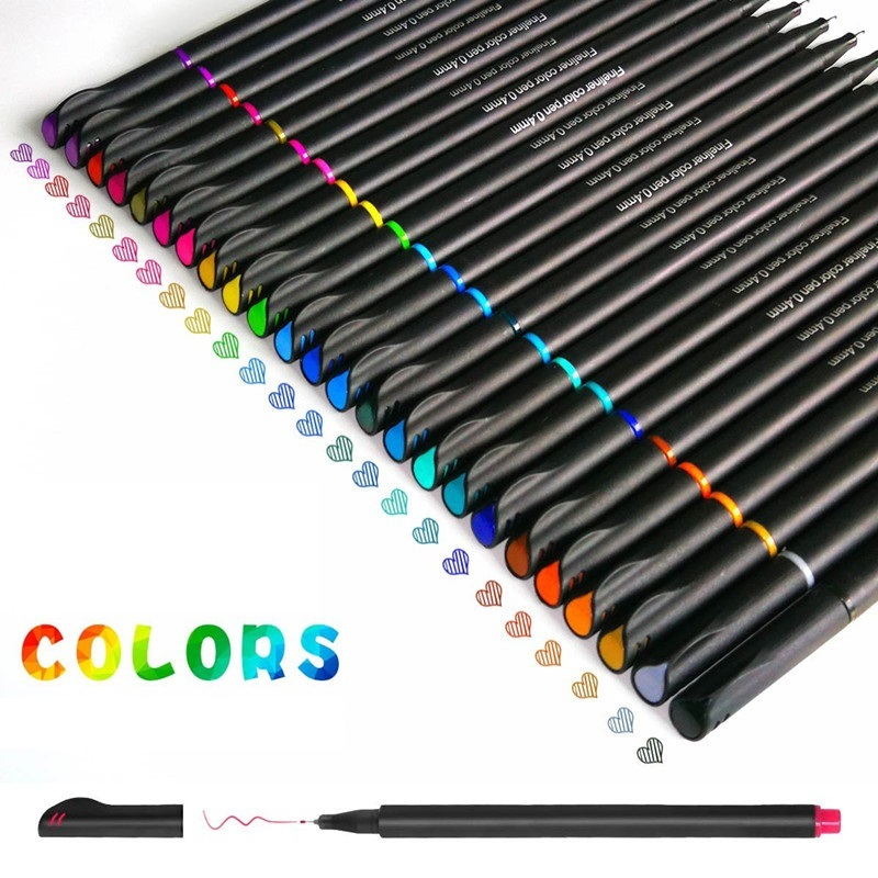 12/24/36 Color Fine Liner Pen 0.4mm Fineliner Drawing Writing Lettering Journal Planner Notebook Design Art Office School F140