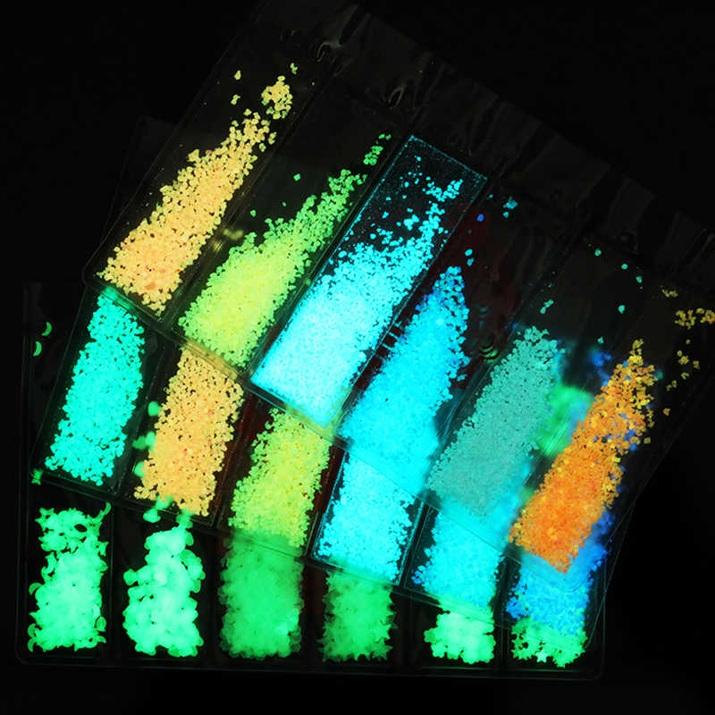 1 ud. Luminoso polvo de brillo de uñas brillan en la oscuridad fluorescente neón Noctilucent pigmento polvo Luna estrella lentejuelas decoración de uñas