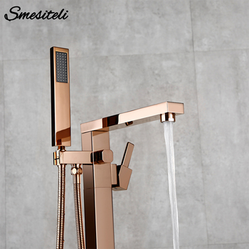 Smesiteli Luxury Bathroom Freestanding Floor Mounted Bath Spout Faucet Cold/Hot Mixer Tap With Shower Hand Faucet Matte Black