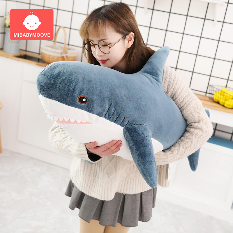 80/100CM Shark Plush Toy Soft Stuffed Speelgoed Animal Reading Pillow Baby Children Appease Cushion Birthday Gift Sofa Bedding