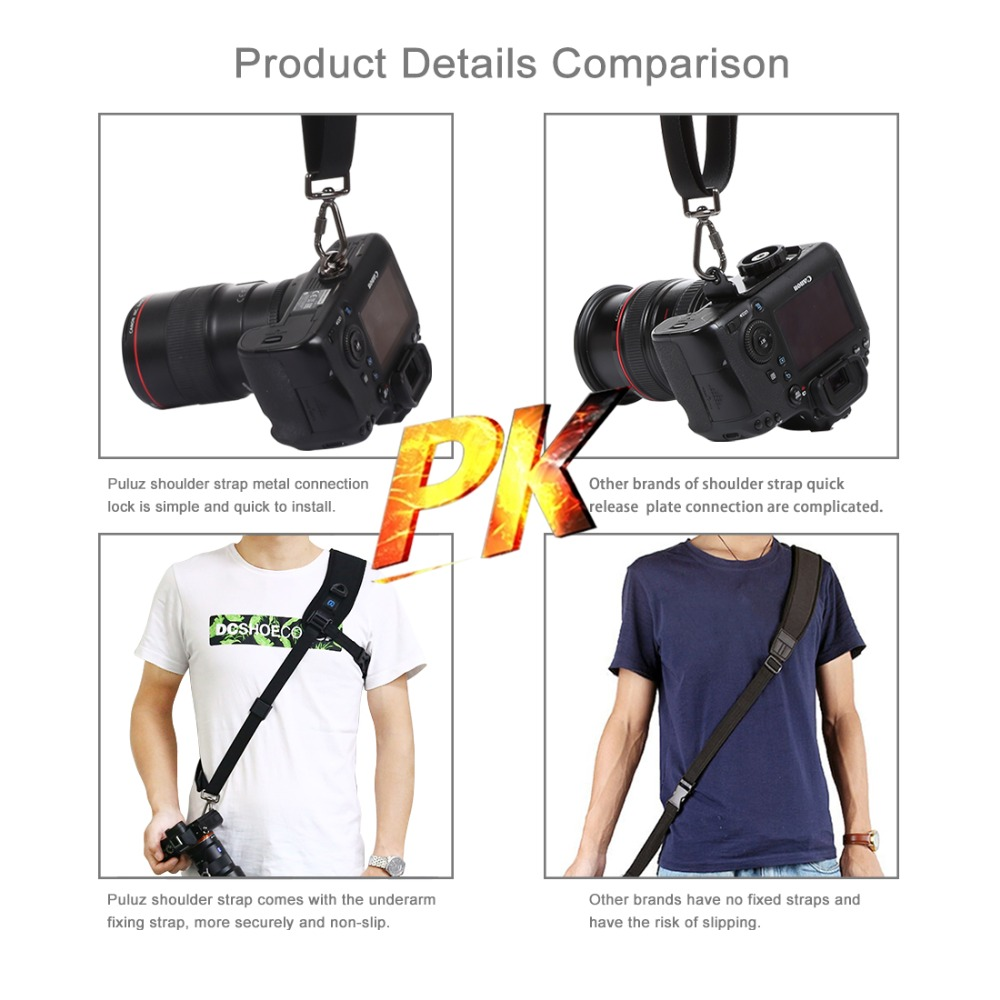 PULUZ Quick Release Anti-Slip Soft Pad Nylon Breathable Curved Camera Strap with Metal Hook for SLR//DSLR Cameras