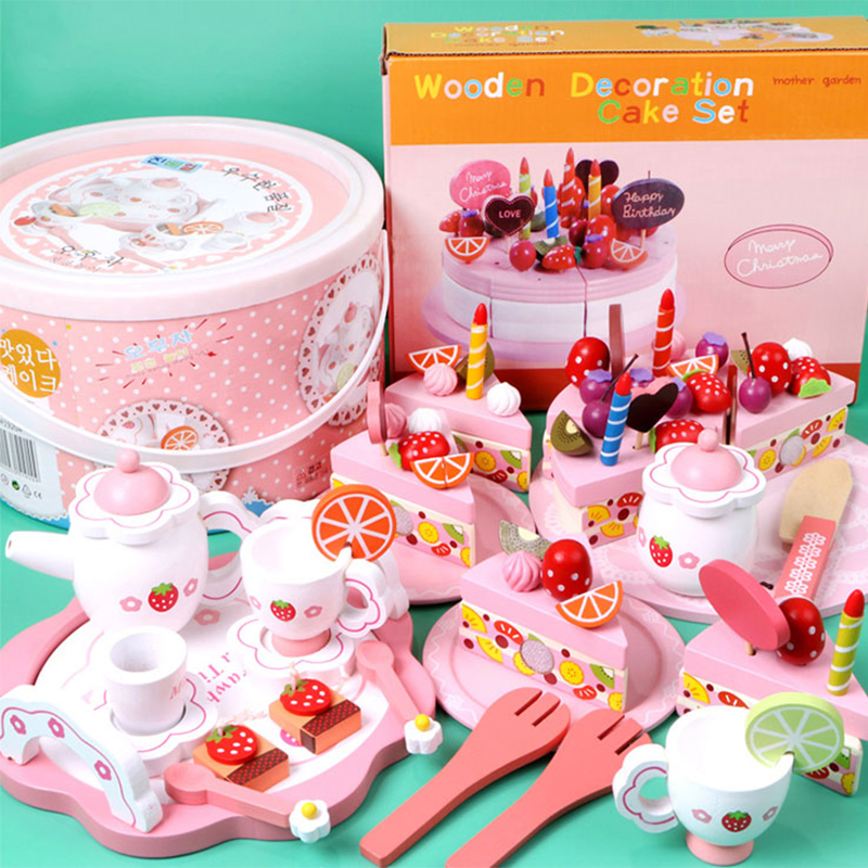 Mini Brands Girls Toys Simulate Wooden Kitchen Toys Pink Tea Set Play House Educational Toy Tools Baby  Tableware Gift