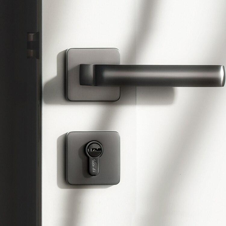 Poignée de porte en alliage gris/zinc intérieur/serrure de porte carrée