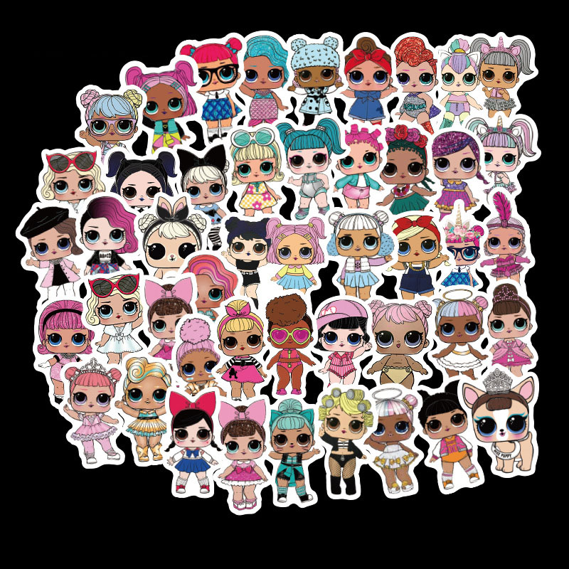 50pcs Cute Cartoon Surprise Doll Girl Decorative Stickers Scrapbooking Kawaii Baby DIY Diary Album Computer Luggage Cases