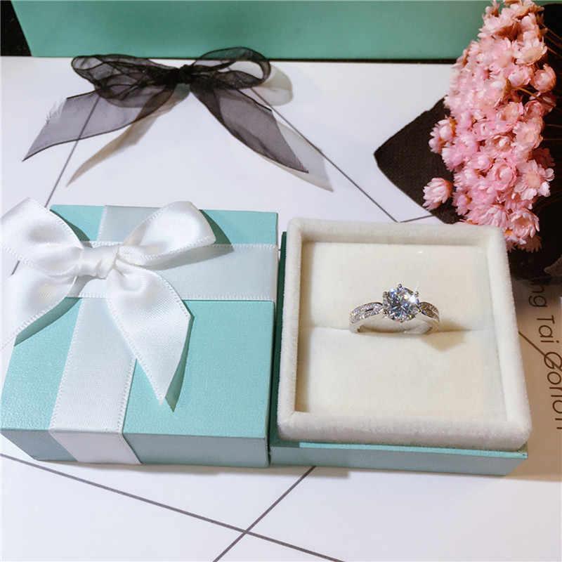 925 כסף 6.5mm D צבע עגול Moissanite טבעת מבריק לחתוך 1 קרט גיאומטרי Moissanite אבן טבעת עבור נשים יוקרה תכשיטים