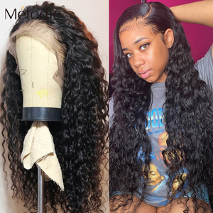 Melodie Jerry Curly 13X4 Lace Front Human Hair Wigs 26 28 30 Inches 4X4 Closure Deep Water Wave Brazilian Lace Frontal Hair Wig