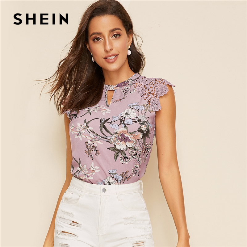 SHEIN Floral Print Guipure Lace Raglan Sleeve Top 2019 Keyhole Neckline Summer Cap Sleeve Elegant Womens Tops And Blouses