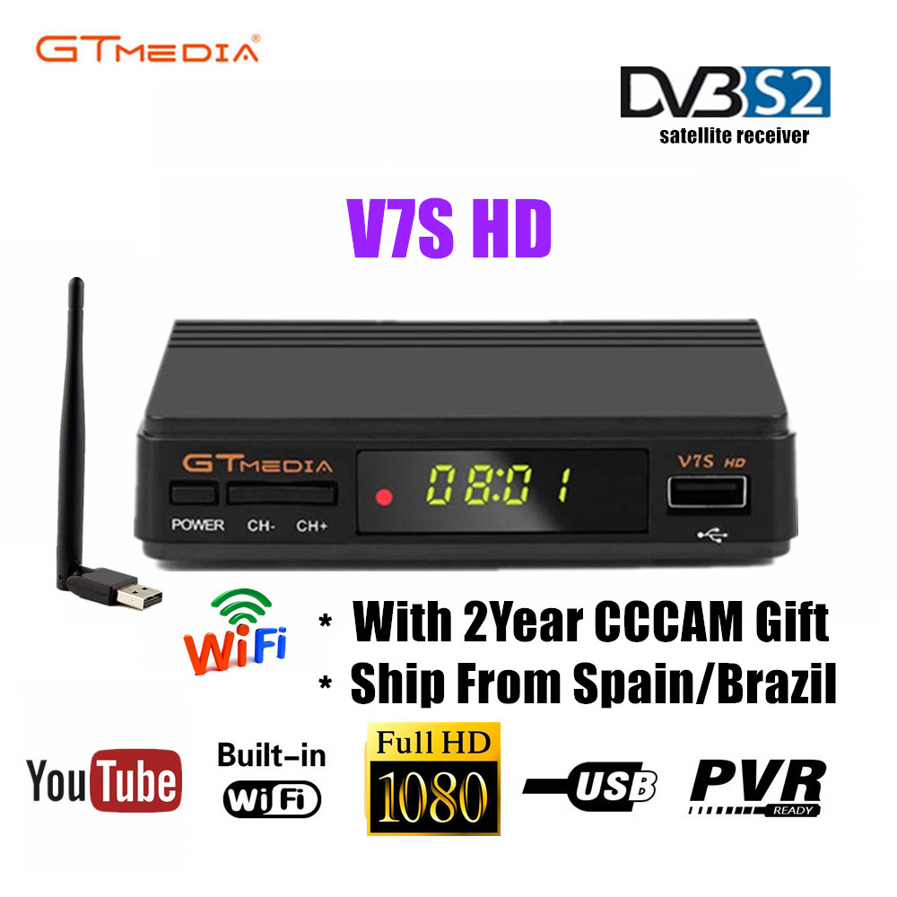 Original Freesat V7 GTMEDIA V7S Full HD Satellite Receiver DVB-S2 HD Decoder Support 2 Year Cccam Receiver Powervu Set Top Box