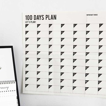 1 Month 100 Days 2020 Wall Calendar Self-Discipline Schedule Daily Weekly Monthly Punching Target Work for School Office image