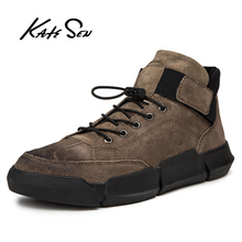 KATESEN New Genuine Leather Shoes Men Sneakers Outdoor Thick Sole Mens Casual Male High Quality Cowhide Loafers men shoes
