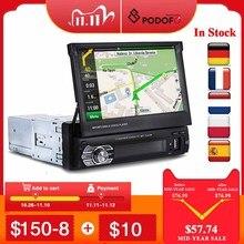 Автомагнитола 1din Podofo, выдвижной автомобильный радиоприемник с GPS навигацией, Bluetooth, FM, USB, сенсорным экраном 7 дюймов, mp5 плеером, камерой MirrorLink