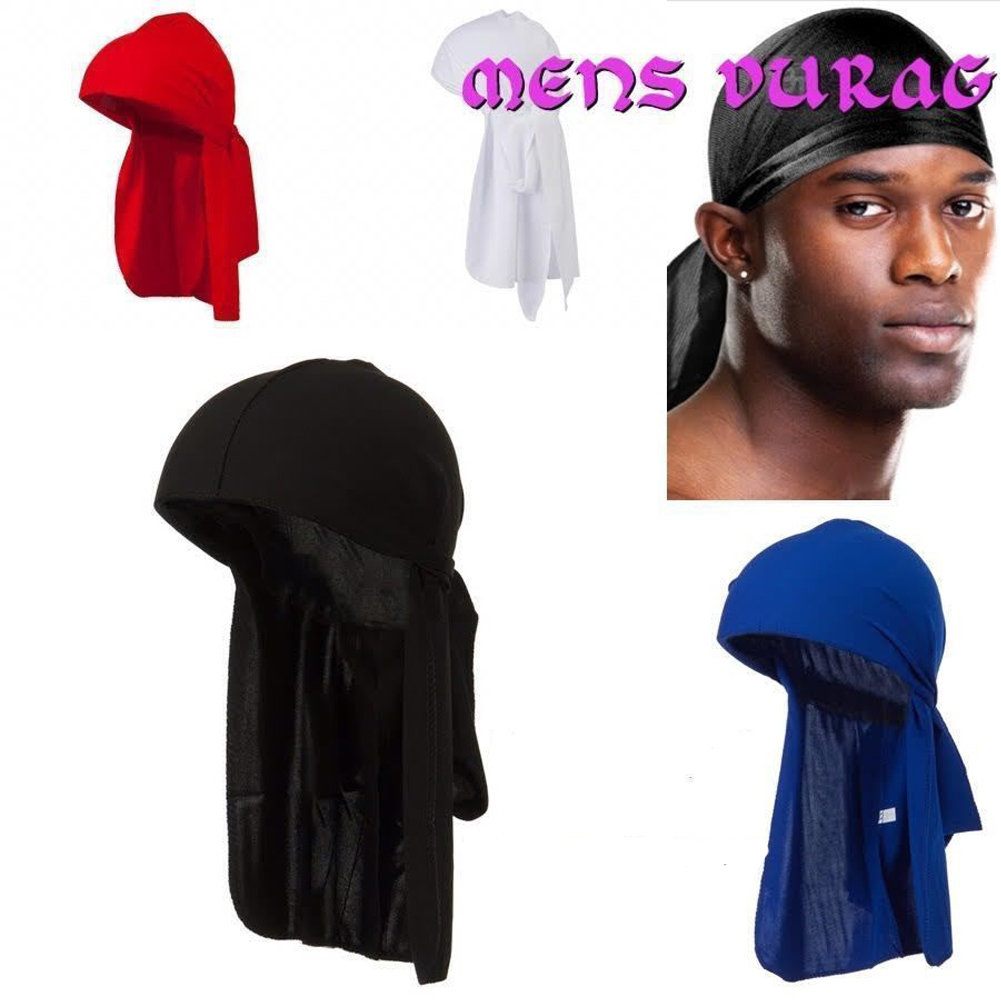 Durag Tie Down Cap du Royaume-Uni Unisexe Bandana noir de sport hommes du rag