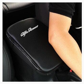 Reposabrazos de cuero sintético con textura de fibra de carbono para coche,...