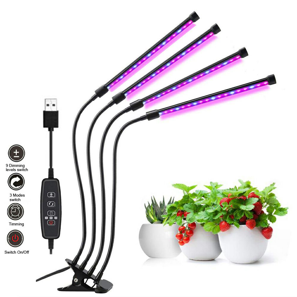 4 Lamps LED Grow Light Full Spectrum Phyto Lamp for Plants Indoor Seedlings Flower Vegetables 18W 27W 36W Clip-on USB Grow Lamp