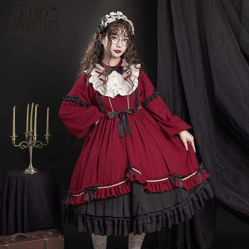 Japanese Style Kawaii Lolita Dress Girl Gothic Vintage Victorian Long Sleeve High Waist Bowknot Ruffled Lace Party Dress Costume