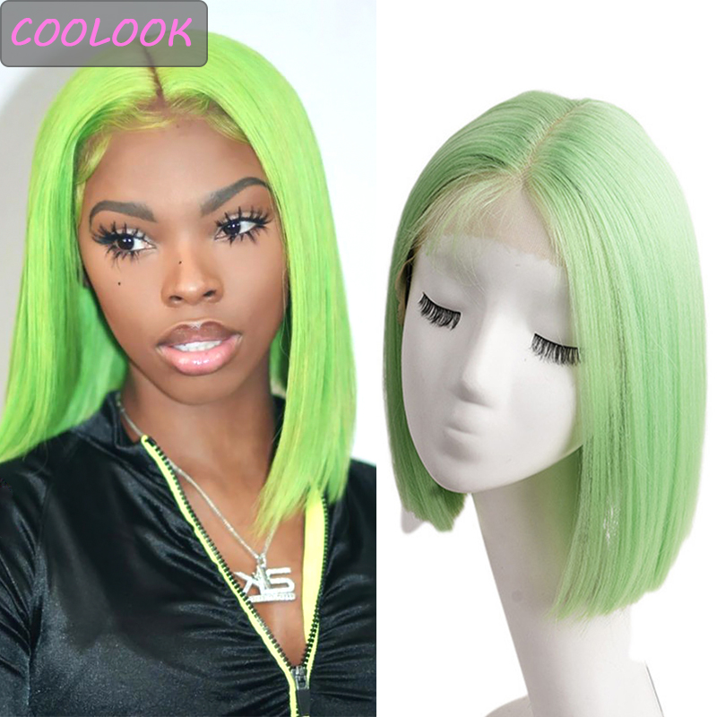 Green Short Bob Lace Wigs for Women 10 Inch Purple Straight Bob Wigs Natural Synthetic Lace Wig Heat Resistant Fiber Cosplay Wig