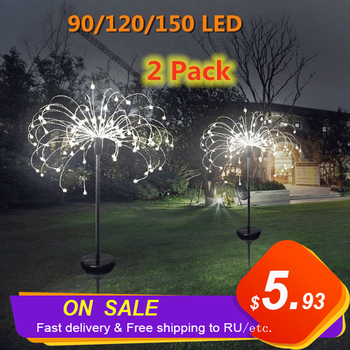 Outdoor Solar Powered Lamp Sunlight Grass Fireworks Lights 90/120/150 LED Landscape Lamps Holiday Light for Garden Decoration