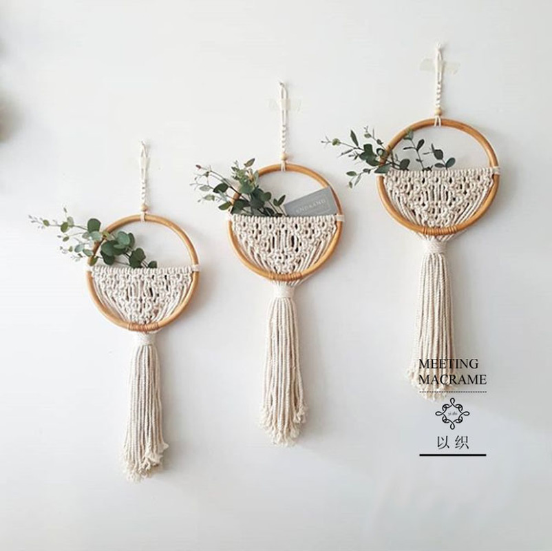 Macrame Wall Hanging Nordic Ins Door Wall Decoration Home Background Round Wall Tapestry Woven Flower Pot Homestay Boho Decor