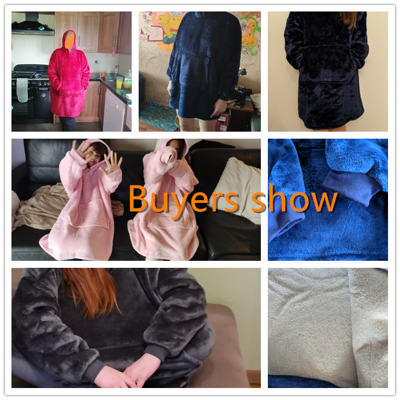 Warm thick TV Hooded Sweater Blanket Unisex Giant Pocket Adult and Children Fleece Weighted Blankets for Beds Travel home-5