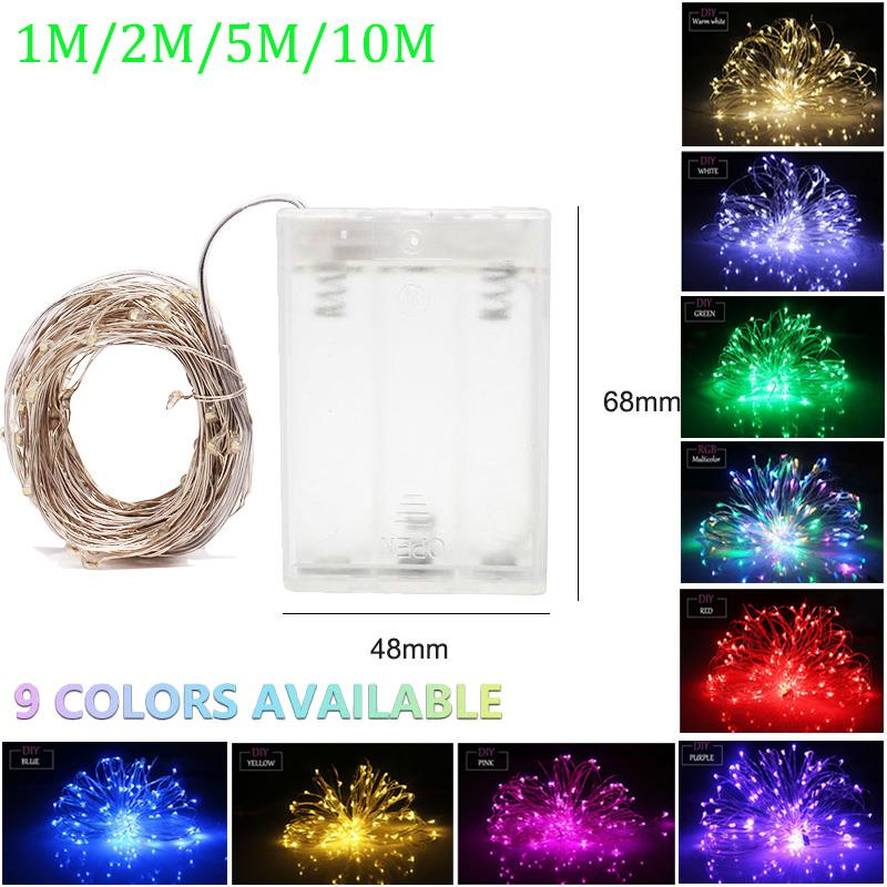LED String Lights 10M 5M 2M Silver Wire Fairy Lights Battery Luces Led Decoracion Garland Christmas Decoration Party Wedding