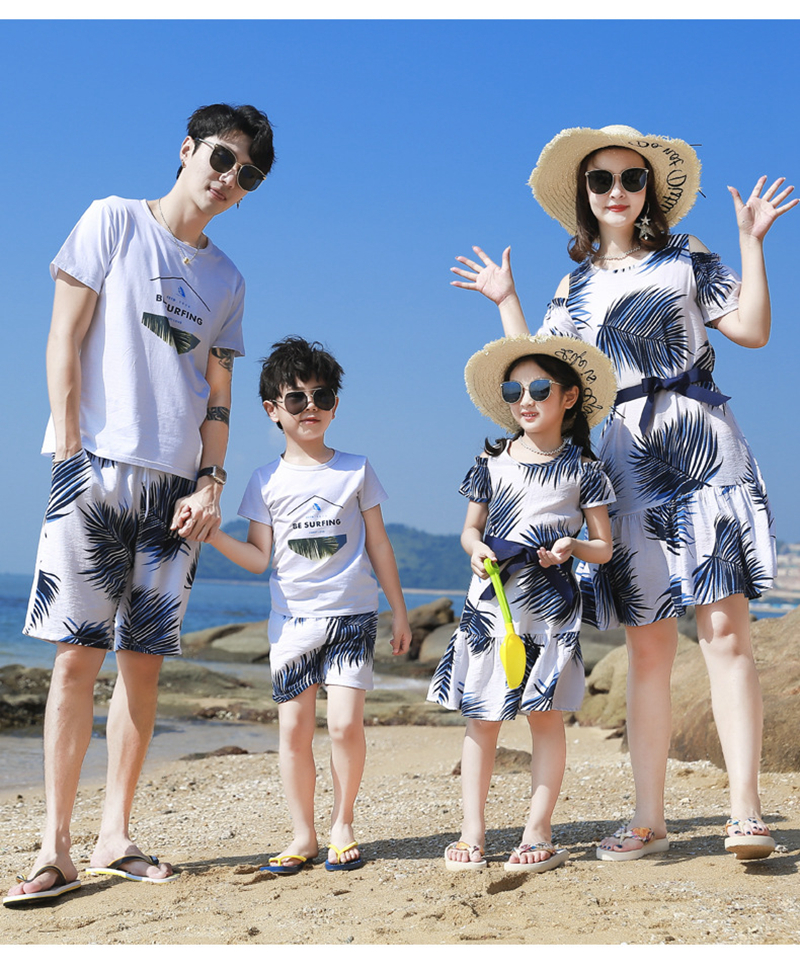 He6e7d0bf571849dda3a20467b8d3c9de1 - Summer Family Matching Outfits Mother Daughter Beach Vocation Dresses Summer Dad Son T-shirt+Shorts Couples Matching Clothing
