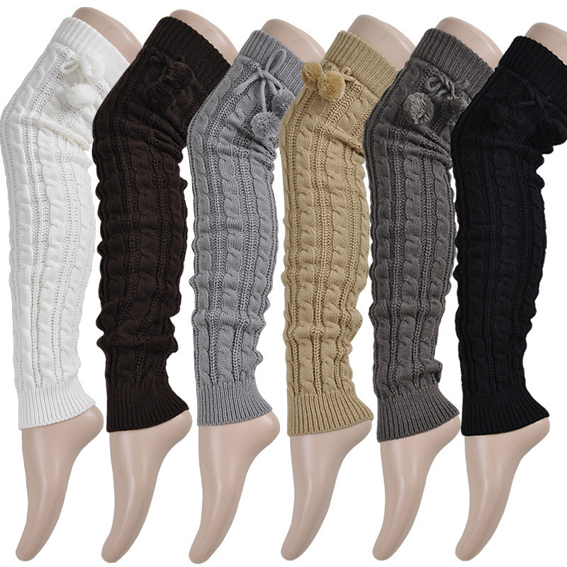 Fashion Wool Knitting Long Section Knee Sleeve Stockings Leggings Warm Women Knit Twist Pompom Lady Winter Leisure Leg Protector