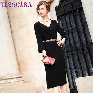 Image 2 - TESSCARA 女性エレガントなビーズドレスフェスタ女性オフィスパーティーローブ高品質セレブに触発デザイナー鉛筆 Vestidos
