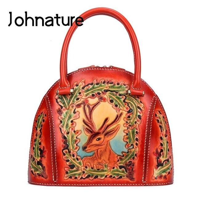Johnature 럭셔리 핸드백 여성 가방 디자이너 2020 새로운 수제 가죽 조각 레트로 숙녀 핸드 가방 중국어 스타일 토트