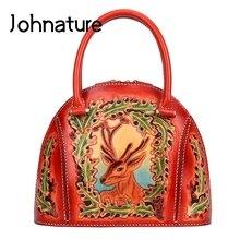 Johnature bolsas de luxo bolsas femininas designer 2020 novo artesanal couro escultura retro senhoras saco mão estilo chinês totes