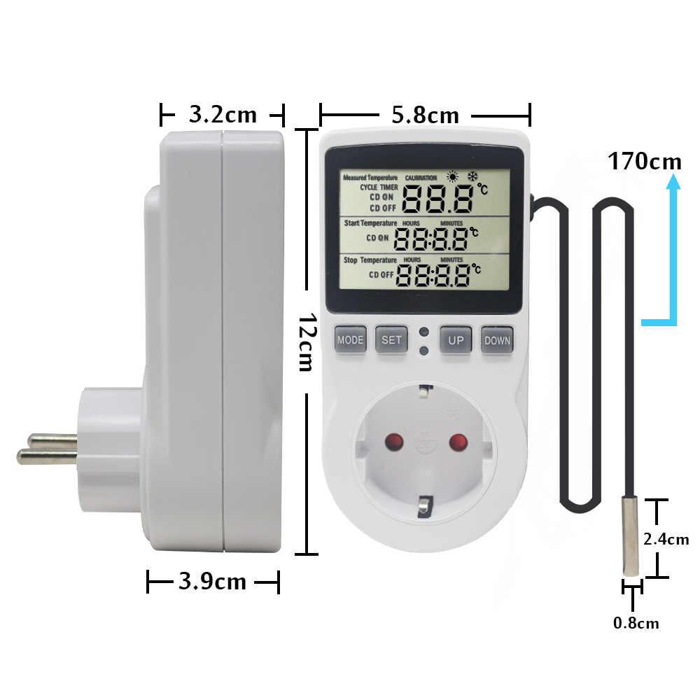 KT3100 çok fonksiyonlu termostat sıcaklık kumandası priz zamanlayıcı anahtarı ile 16A 220V isıtma soğutma zamanlama modu