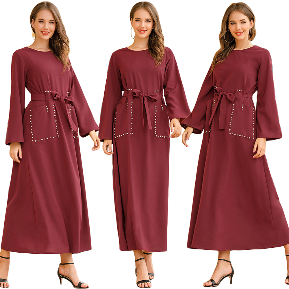Fashion Kaftan Abaya Red Rhinestone Dubai Long Sleeve Maxi Dress Muslim Women Long Party Gown Jilbab Islam Prayer Caftan Robe