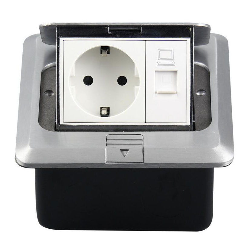 Tout panneau en aluminium Europe Standard prise électrique 1 prise ue + 1 prise de sol réseau informatique personnalisé disponible