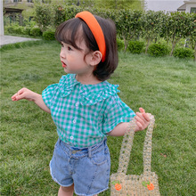 Toddler Kids Short Sleeve Blouse Cute Baby Girls Summer Clothes Korean Style Ruffles Plaid Shirts Little Child Fashion Tops 5 6 girls plaid blouse 2019 spring autumn turn down collar teenager shirts cotton shirts casual clothes child kids long sleeve 4 13t