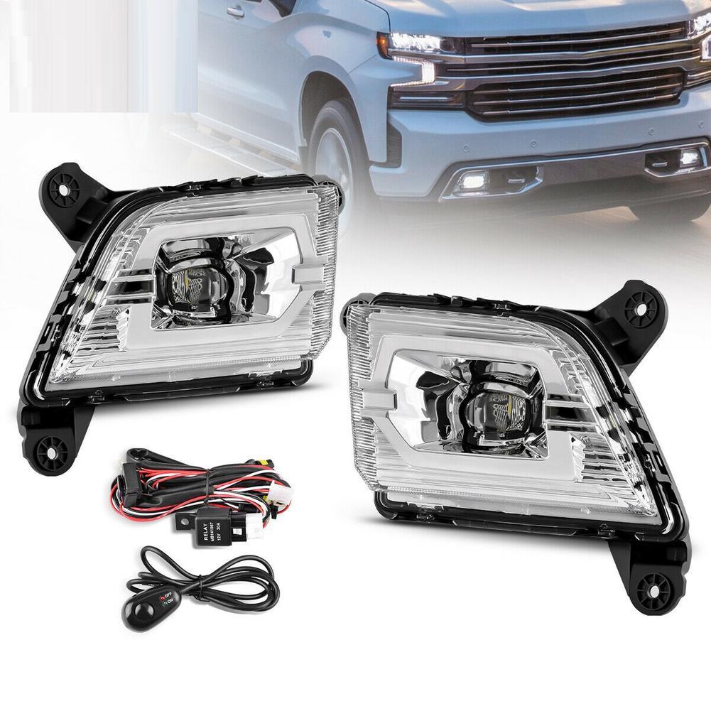 Led Fog  Lamp  Set Switch Kit Drl For Chevrolet Solode Silverado 19-20