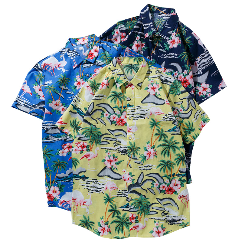 Men Hawaiian Shirt Summer Short Sleeve Flamingos Print Button Down Beach Party Shirt Cotton Comfortable Soft Plus Size Shirts