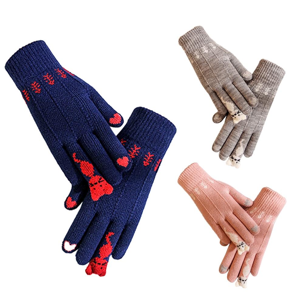 1 Pair Korean Style Winter Warm Knitted Full Finger Gloves Mittens For Women Girls Cute Cartoon Cats Touch Screen Gloves
