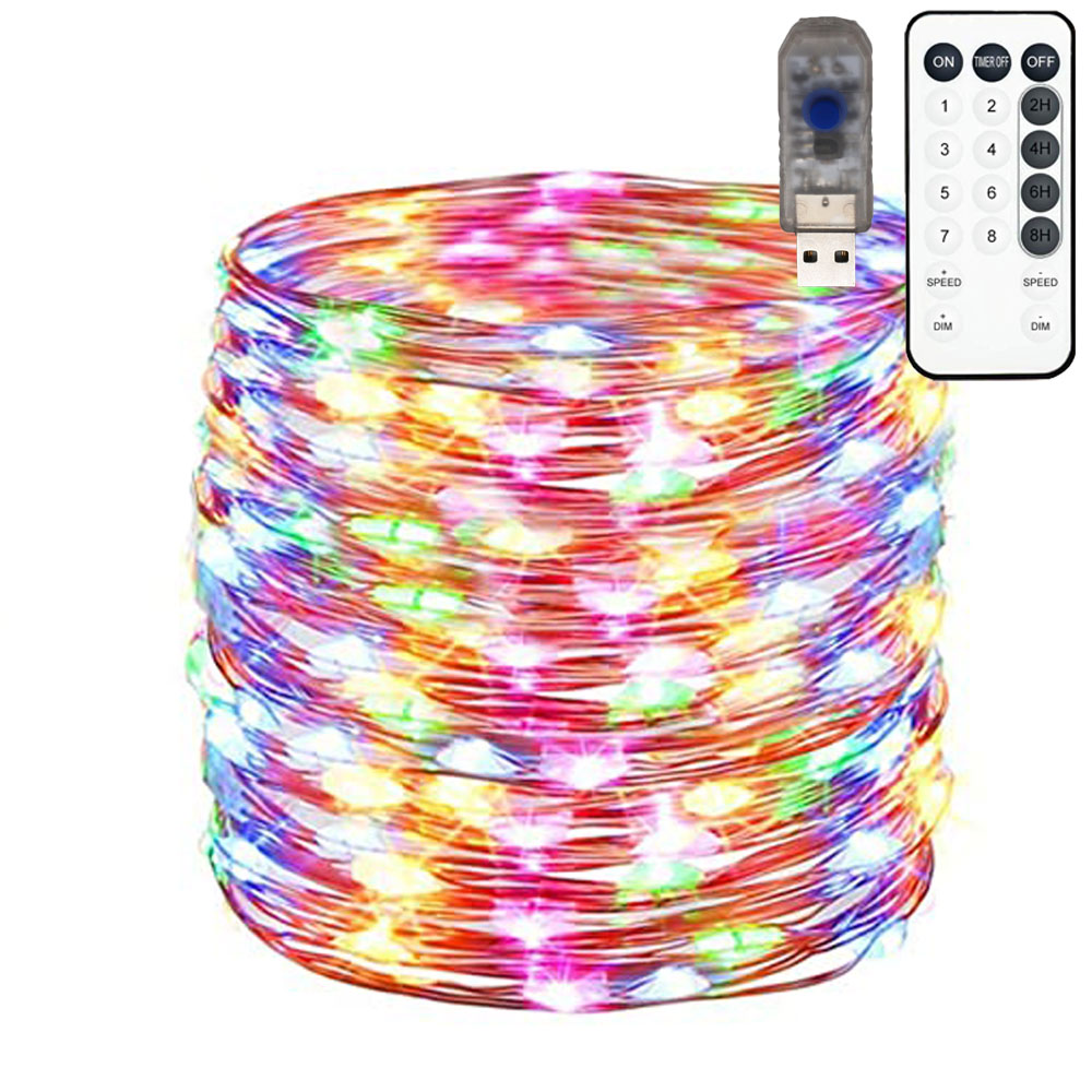 100LED 33Ft,Fairy Lights Flexible Copper Wire String Lights,Energy Saving,Low Power Consumption, Low Voltage 5Vdc Fairy Lights