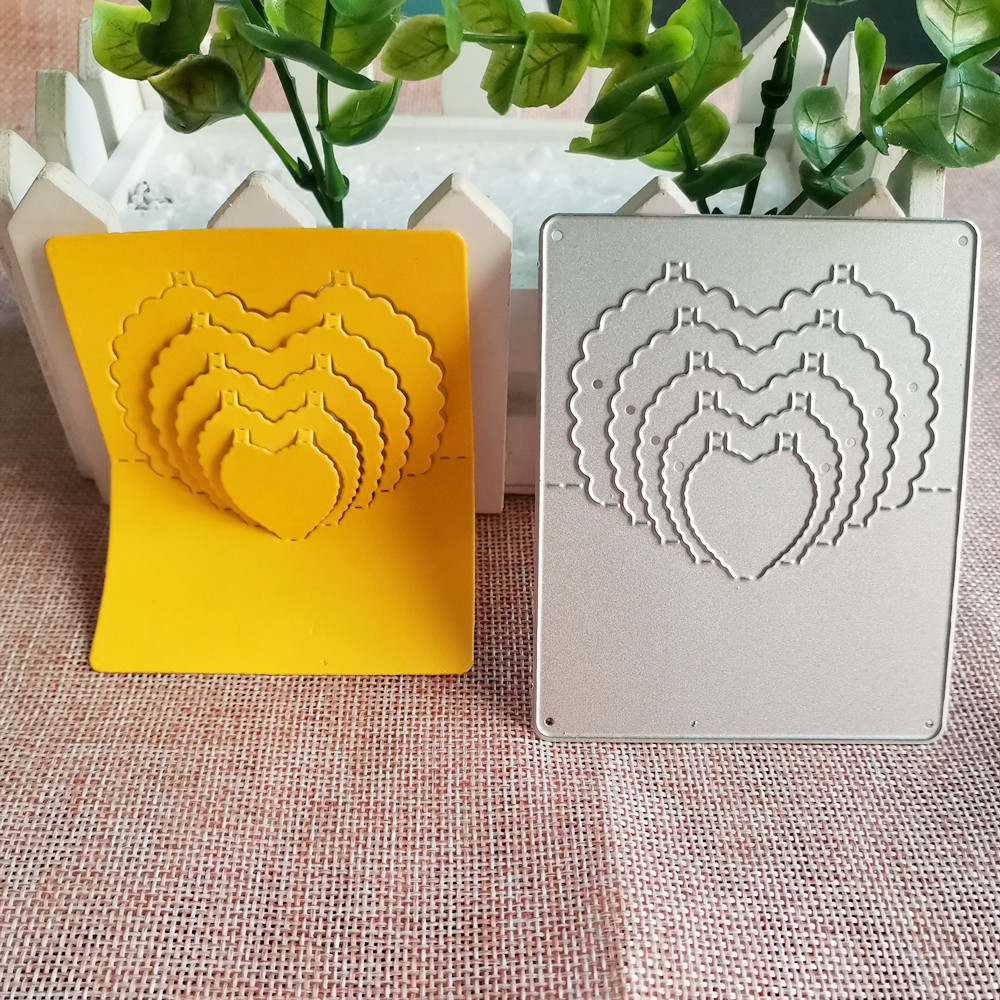 Fold Heart Background Metal Cutting Die Stencil Template For DIY Embossing Paper Photo Album Gift Card Making Scrapbooking Dies