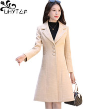 Wool Coats Jacket Female Warm Slim Plus-Size Winter Casual Women Mid-Length Lapel UHYTGF
