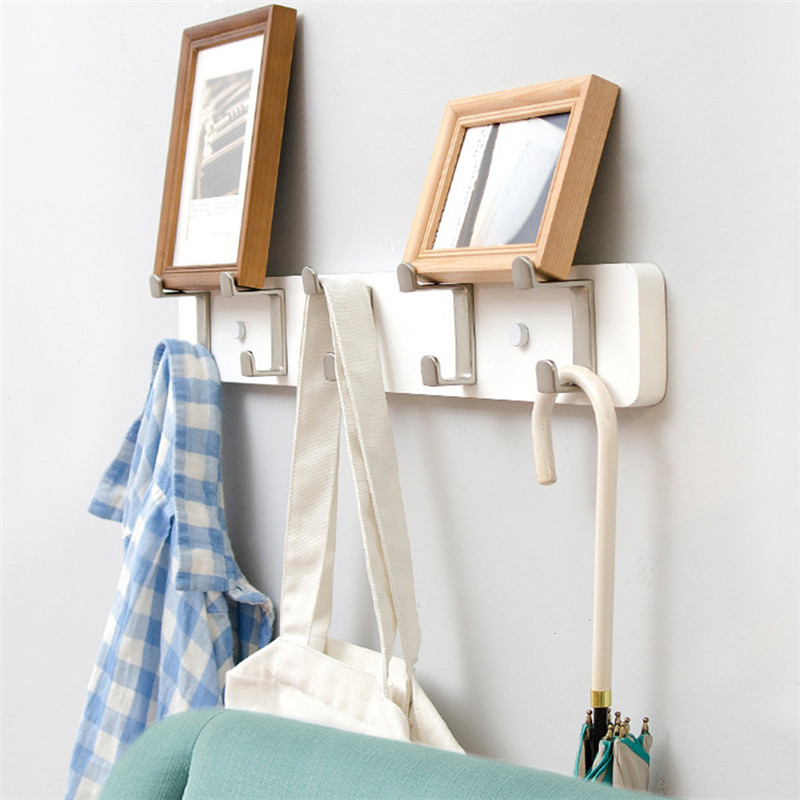 3/4/5 Hooks Creative Hook Wall Coat Rack Bedroom Furniture Clothes Hanger Hooks Living Room Closet Wooden Hat Rack Coat Hanger|  - title=