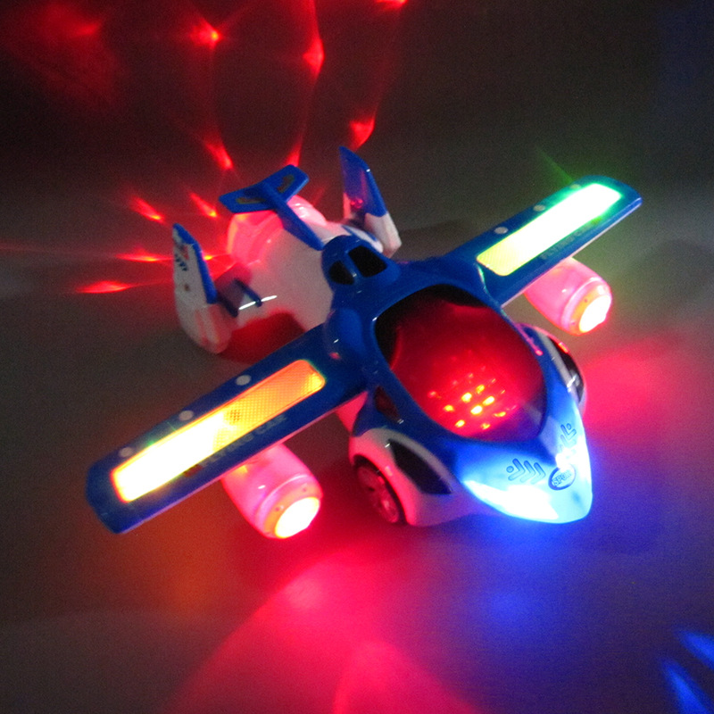 Kids Led Electric Airplane Toy 360 Degree Rotary Wheels Cool Lighting Music Kids Electronic Aircraft Toy image