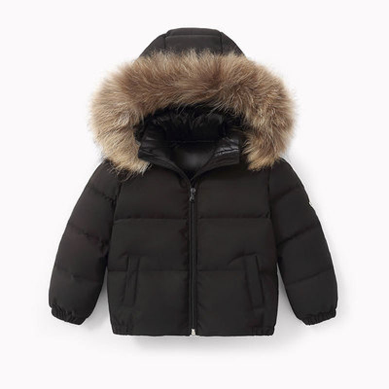 Winter Childrens coat Fur Collar Hooded kids clothes Baby Boys Girls Thickened Down Jacket 2021 Y09.12 2