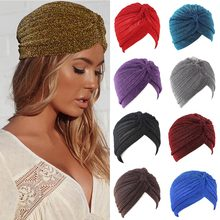 Quente bling prata ouro feminino nó torção turbante outono inverno quente muçulmano cachecol casual streetwear feminino indiano chapéus novo lenço