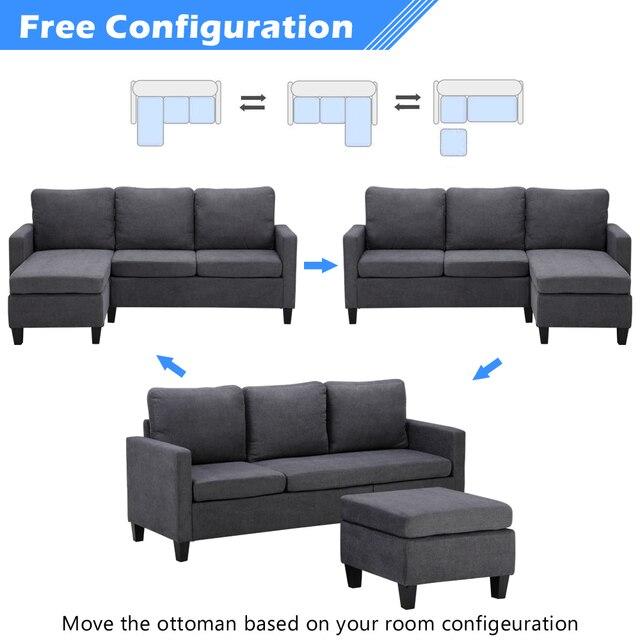 Two Colors  Double Chaise Longue Combination Sofa  Model Room Sofa Set (194 x 126 x 89)cm for Livingroom 1