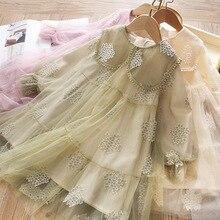 Весеннее платье для девочек; Сетчатое платье с рукавами-фонариками