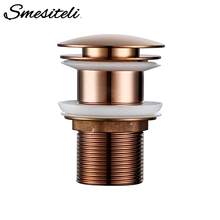 Smesiteli Bathroom Drain Without Hole Push Down Pop Up Drain Brass Anti Corrosion Without Overflow Hole Design