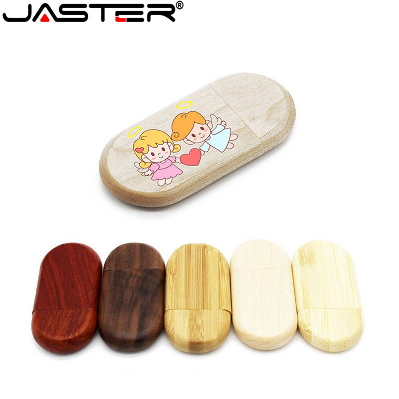 JASTER LOGO Customized Usb Flash Drive Wooden Creative Gift Pendrive 4GB 8GB 16GB Pen Drive 32G 64GB U Disk Memory Stick