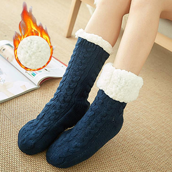 New Women Winter Socks Plus Cotton Thicken Warm Sock Non-Slip Solid Sleep Stocking Merry Christmas Girl Gift Home Floor Sock Hot image