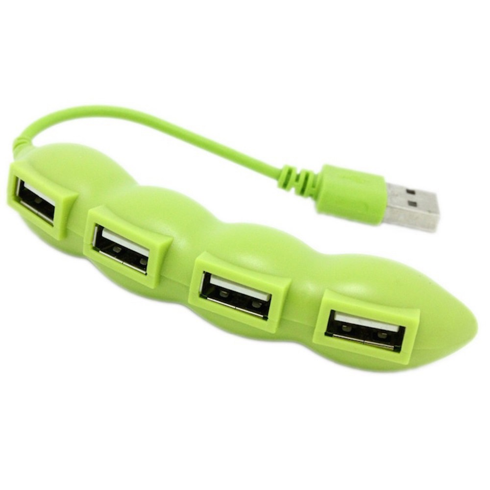 Create 4-Port USB 2.0 Splitter Power Charging Supply Adapter Cartoon Pea Vegetable Shape For PC Laptop Mobile Phone Adapters