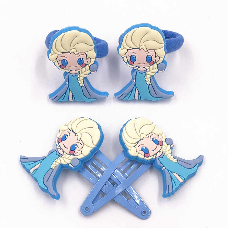 4PCS Wholesale Silicone Cartoon Head Wear Elsa Princess Icon Elastic Hair Bands Lovely Rubber Ropes Girls Hair Pins Clips